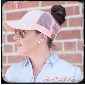 C.C TopKnot PINK Ponytail Baseball Cap Hat